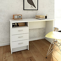 White 3 Drawer Desk (H)726mm (W)1201mm (D)481mm