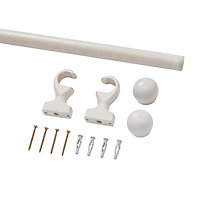White Fixed Curtain pole Set, (L)1.5m