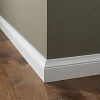 White MDF Skirting board (L)2.2m (W)100mm (T)19mm