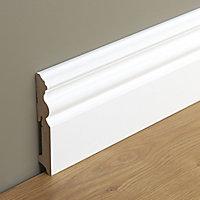 White MDF Skirting board (L)2.2m (W)120mm (T)19mm