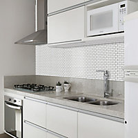 White Mini bevel brick Porcelain Mosaic tile, (L)320mm (W)298mm