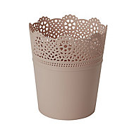 White Plastic Lace Round Plant pot (Dia)18cm