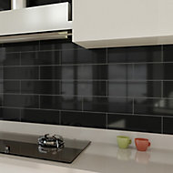 Windsor Black Gloss Ceramic Wall Tile, Pack of 30, (L)300mm (W)100mm