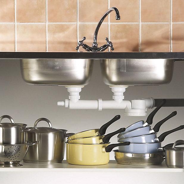 Wirquin 33100009 Chrome Plated White Kitchen Sink Waste Kit Diy At B Q
