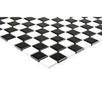 Wooda Black & white Ceramic Mosaic tile sheet, (L)300mm (W)300mm