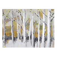 Woodland Ochre Canvas art (H)400mm (W)550mm