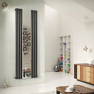 Ximax Fortuna Mirror Vertical Designer Radiator, Anthracite (W)590mm (H)1800mm
