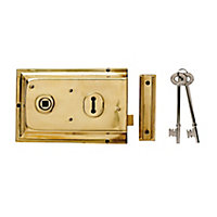 Yale 43mm Polished Brass effect Metal Rim lock, (H)104mm (L)156mm