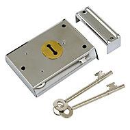 Yale 46mm Chrome effect Metal Rim lock, (H)76mm (L)102mm