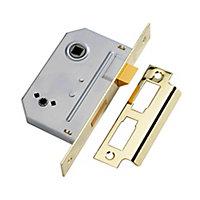 Yale 64mm Polished Brass effect Brass 2 lever Deadlock