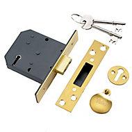 Yale 76mm Polished Brass 5 lever Deadlock