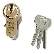 Yale Brass effect Single Euro Cylinder lock, (L)80mm (W)29mm
