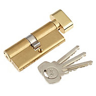 Yale Brass-plated Single Euro Thumbturn Cylinder lock, (L)70mm (W)29mm