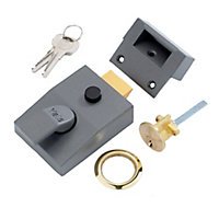 Yale Grey Brass effect LH & RH Deadlock Night latch, (H)70mm (W)93mm