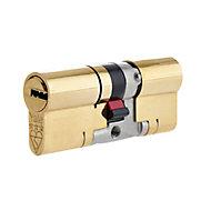 Yale Platinum Brass Single Euro Cylinder lock, (L)80mm