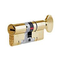 Yale Platinum Brass Single Euro Thumbturn Cylinder lock, (L)70mm