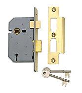Yale PM320 3IN 76mm Brass effect Metal 3 lever Sashlock