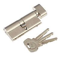 Yale Satin Nickel-plated Single Euro Thumbturn Cylinder lock, (L)80mm (W)29mm