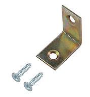 Yellow Zinc-plated Mild steel Corner bracket (H)1.5mm (W)25.5mm (L)25mm, Pack of 20