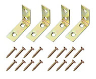 Yellow Zinc-plated Mild steel Corner bracket (H)1.5mm (W)39.5mm (L)40mm, Pack of 4