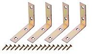 Yellow Zinc-plated Mild steel Corner bracket (H)1.5mm (W)65.5mm (L)65mm, Pack of 4