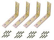 Yellow Zinc-plated Mild steel Corner bracket (H)1.5mm (W)76.5mm (L)75mm, Pack of 4