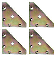 Yellow Zinc-plated Mild steel Corner bracket (H)1.5mm (W)82mm (L)82mm, Pack of 4