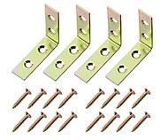 Yellow Zinc-plated Mild steel Corner bracket (L)50mm, Pack of 4