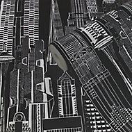 Yopo Black Cityscape Silver effect Textured Wallpaper