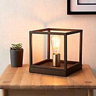 York Matt Bronze effect Square Table lamp