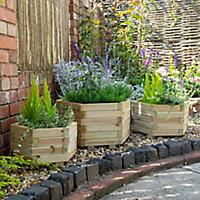 York Wooden Hexagonal Planter 50cm, Pack of 3