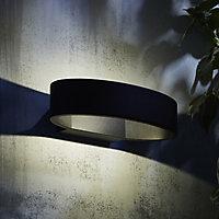 Zinc Banir Non-adjustable Matt Black Mains-powered LED Outdoor Oval Wall light 260lm (Dia)13cm