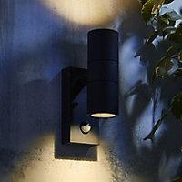 Zinc Odin Non-adjustable Matt Anthracite LED PIR Motion sensor Outdoor Up down Wall light 7W