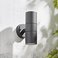 Zinc Odin Non-adjustable Matt Anthracite Mains-powered LED Outdoor Up down Wall light (Dia)6cm