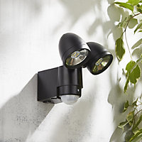 Zinc Oust Black Mains-powered Cool white Outdoor LED PIR Double floodlight 480lm