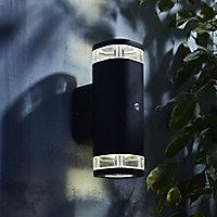 Zinc Palin Non-adjustable Matt Anthracite Mains-powered LED Outdoor Up down Wall light (Dia)11.5cm