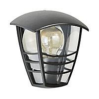 Zinc Perdy Non-adjustable Matt Black Mains-powered LED Outdoor Curved Wall lantern (Dia)17.9cm