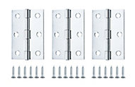 Zinc-plated Metal Butt Door hinge (L)75mm N174, Pack of 3