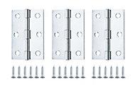 Zinc-plated Metal Butt Door hinge N174 (L)75mm, Pack of 3