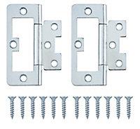 Zinc-plated Metal Flush Door hinge (L)75mm N178, Pack of 2