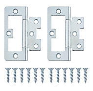 Zinc-plated Metal Flush Door hinge (L)75mm N348, Pack of 8