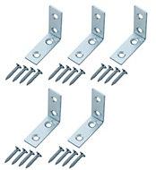 Zinc-plated Mild steel Corner bracket (H)1.5mm (W)41.5mm (L)40mm, Pack of 20
