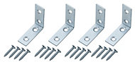 Zinc-plated Mild steel Corner bracket (H)1.5mm (W)41.5mm (L)40mm, Pack of 4