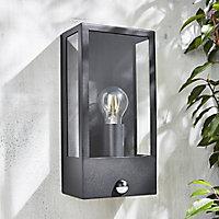 Zinc Thora Non-adjustable Matt Black LED PIR Motion sensor Outdoor Box Wall lantern 10W