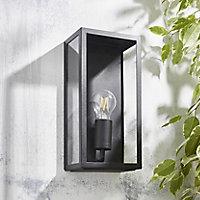 Zinc Thora Non-adjustable Matt Black Mains-powered LED Outdoor Box Wall lantern (Dia)10cm