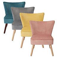 Zorita Yellow Velvet effect Occasional chair (H)830mm (W)650mm (D)71.5mm