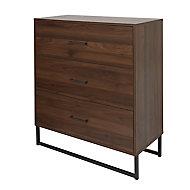 Zorras Matt walnut effect 3 Drawer Industrial Chest of drawers (H)950mm (W)850mm (D)400mm