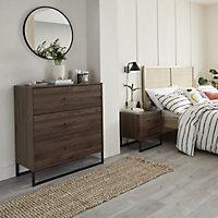 Zorras Walnut effect 2 Drawer Bedside table (H)500mm (W)460mm (D)400mm