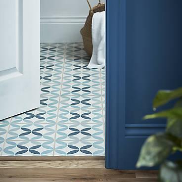 Hydrolic Blue Matt Concrete Porcelain Floor tile