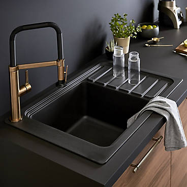 Cooke & Lewis Lamarck 1.5 bowl stainless steel and toughened glass sink